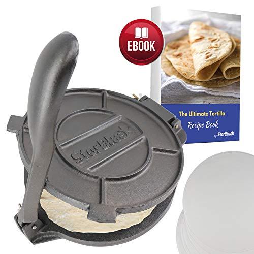StarBlue Tortilla-Presse aus Gusseisen, 25,4 cm, mit 100 Ölpapier und Rezepten E-Book (evtl. nicht in deutscher Sprache) – Werkzeug zur Herstellung von Chapati, Tortilla, Roti