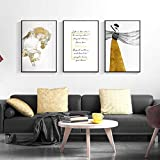 adgkitb canvas Elegante Frau Goldenes Kleid Brief Leinwand Malerei Pferd Poster Drucken Abstrakte Wandkunst Bilder Für Wohnzimmer Schlafzimmer 58x90 cm x 3 KEIN Rahmen