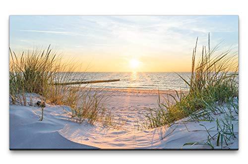 Paul Sinus Art Bilder XXL Sonnenuntergang an der Ostsee 120x70cm Wandbild auf Leinwand