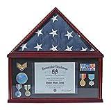 Large Military Medal Shadow Box Frame American Funeral Flag Display Case Holder for a 5' X 9.5' Funeral/Memorial Flag Folded (Black Felt)