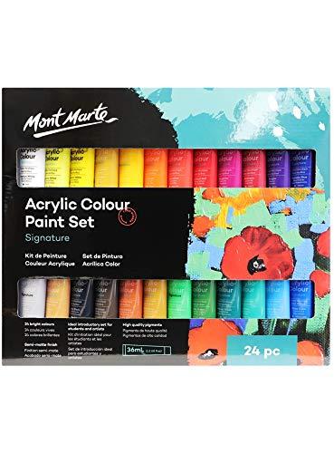 MONT MARTE Juego de Pintura Acrílica Premium - 24 piezas (Tubos 36ml) - Ideal para Pintura Acrílica - Colores Brillantes y Luminosos con gran opacidad - Perfecto para Principiantes y Profesionales
