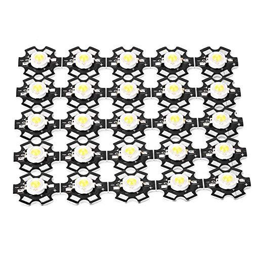 Wandisy Luz de Chip integrada, 25PCS 3W 3.2-3.4V Bombilla de Foco LED de Alta luminosidad(Blanco 20000-25000K)