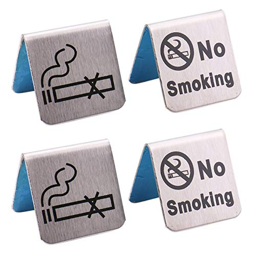 Luckycivia 4 Pcs Stainless Steel NO SMOKING Signs, Double Side NO SMOKING Table Tent Sign, Sliver