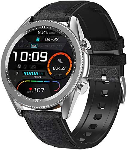 ANSUNG Relojes Inteligentes Hombre Llamada Bluetooth, con 24 Modos Deportivos Pulsómetro Calorías Monitor de Sueño Podómetro,IP67 Impermeable Compatible con iOS Android(Plata)