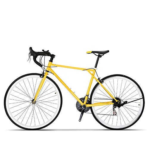 QuXiaoMo Rennrad, Unisex Adult 700C Retro Road Und Off-Road-Rennrad 21-Gang Biege Griff High Carbon Steel Bike Pendeln