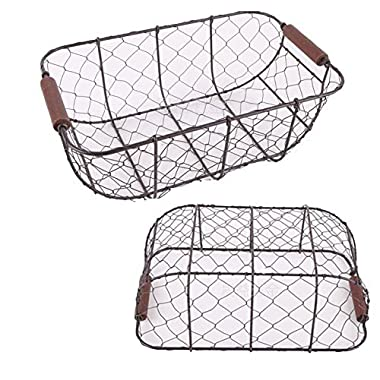 KeKaBox Set of 2 Country Rustic Black Metal Chicken Wire Nesting Storage Baskets with Wood Handles
