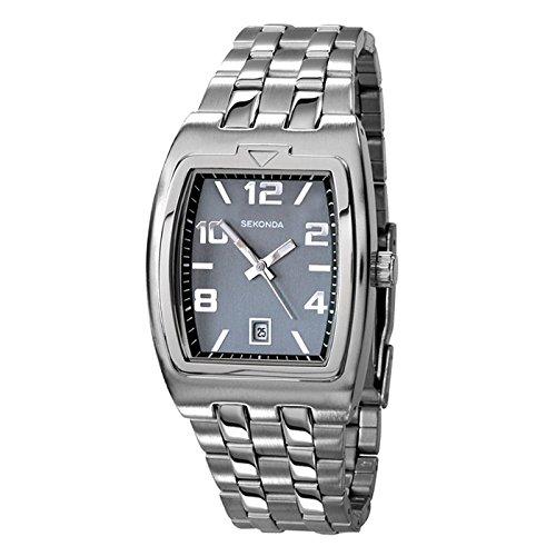 Sekonda Hombre Enlace Pulsera de plata de color gris y reloj 3778