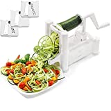 Veggie Spiral Cutter, Vegetable Spiral Cutter Salad Shredder Manual Veggie Spaghetti Multi-function Slicer with 3 Stainless Steel Blades for Wide Ribbons, Curly Fries, Fine Ridged Pasta, Made in USA