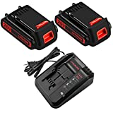 2Packs LBXR20 20 Volt 3.0Ah Battery and Charger Compatible with Black and Decker 20V Lithium Battery Max LB20 LBX20 LST220 LBXR2020-OPE LBXR20B-2 LB2X4020
