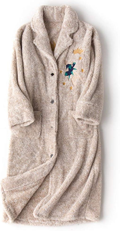 NAN Liang Cotton Bathrobes Luxury Yukata Thick Robes Winter Home Clothes (color   Brown, Size   L)