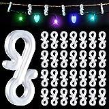 MELLIEX 100 Piezas Ganchos para Colgar Luces de Navidad, Ganchos de Plástico para Canalones para Decoración de Luces Navidad, Exteriores Cadena de Luces, Guirnalda Luces