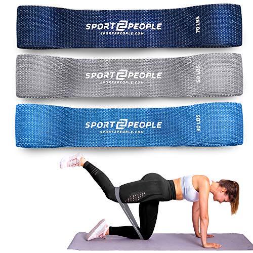 sport2people Loop Resistance Bands - Fitness-bänder Set in 3 Zugkraftstärken, Cotton Trainings-Bänder Unterstützung fürs Beintraining, Krafttraining und Klimmzüge