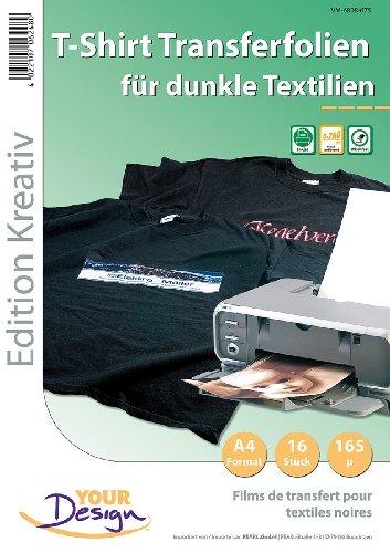 Your Design TShirt Transferfolie: 16 T-Shirt Transferfolien für bunte Textilien A4 Inkjet (T Shirt Druck Folien)