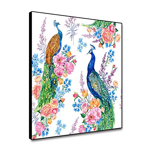 N / A Peacock Canvas Painting Wall Art Animal Peacock Poster and Print Mural Living Room Decoration Home Decoration Frameless 75x75cm