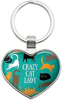 Crazy Cat Lady Teal Orange Black Brown Keychain Heart Love Metal Key Chain Ring