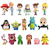 17 Unids / Lote Toy Story Cartoon Woody Jessie Buzz Rose Bear Lindo Mini Coche Decoración Muñecas PV...