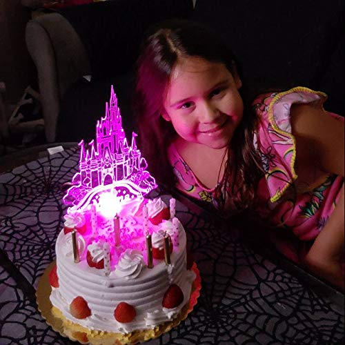 Cinderella Castle Cake Topper, Castillo de la Cenicienta Topper Tarta, Adorno para tarta Castillo Cenicienta personalizado iluminado LED