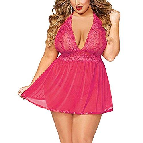 dianDIAN-GE Damen Spitze Negligee,👅 Dessous reizwäsche,erotische unterwäsche nachtwäsche nachtkleid Push up BH Set erotik Bodysuit (Hot Pink,4XL)