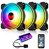 3 Pack RGB Case Fans,PECHAM 120mm Silent Computer Cooling PC Case Fan Addressable RGB Color Changing LED Fan with Remote Control,Music Rhythm Sync & 5V ARGB Motherboard Sync (RGB1)