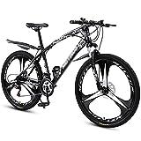 FBDGNG Bicicleta MTB 26 pulgadas Ruedas Mountain Bike Marco de acero de alto carbono 21/24/27 velocidad con frenos de disco (tamaño 24 velocidades, color: negro)