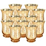 "Just Artifacts Mercury Glass Hurricane Votive Candle Holder 3.5"" H (12pcs, Speckled Gold) - Mercury Glass Votive Tealight Candle Holders for Weddings, Parties and Home Décor"