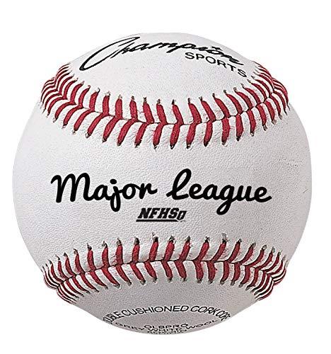 CHAMPION SPORTS - Juego de 12 Pelotas de béisbol de Piel auténtica, 12 Unidades, para Uso en Interiores y Exteriores, OLBPRO, Top Grade Leather - White