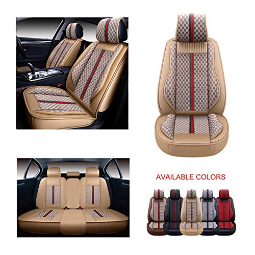 OASIS AUTO Leather Car Seat Covers, Faux Leatherette Automotive Vehicle Cushion Cover for Cars SUV Pick-up Truck Universal Fit Set for Auto Interior Accessories (OS-007 Full Set, TAN)