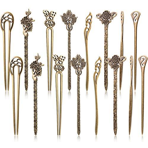 16 Piezas de Palos de Pelo para Mujeres Pasadores de Pelo Chinos Retro Vintage Decorativos