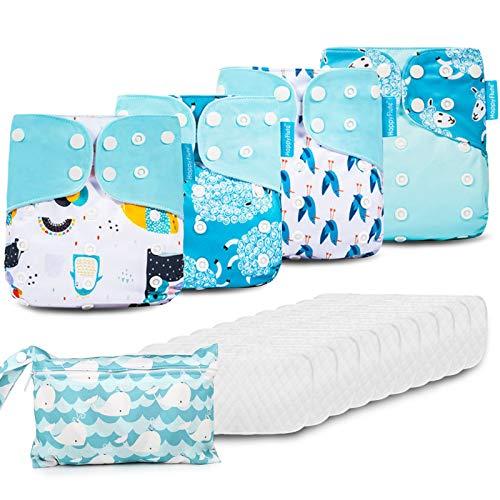HebyTinco Baby Windelhose Windeln Trainerhosen, Stoffwindeln Windelhose Baby Set, Wiederverwendbar, Waschbar, Größe Verstellbar, Geeignet für Babys Von 0-3 Jahren, Kleine Mädchen und Jungen (Blue)