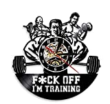 KFSG F-Off I'm Training Gym Cita inspiradora Arte de la Pared Bodybuilders Reloj Fitness Room Wall Sign Reloj de Pared con Registro de Vinilo Crossfit