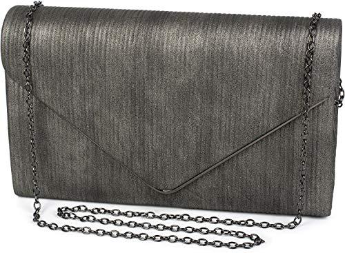 styleBREAKER Damen Envelope Clutch in Cord Optik mit Metall Zierleiste, Abendtasche, Tasche 02012275, Farbe:Silber