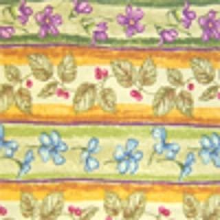 Longaberger Medium Oval Gathering Basket Liner Botanical Fields Stripe Fabric Over Edge Style