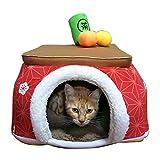 犬 ハウス ペットパラダイス 【犬・猫 用】 こたつハウス 梅 麻の葉 (40cm) あたたかい 保温防寒 寒さ対策 犬 猫 寝床 コード穴付き