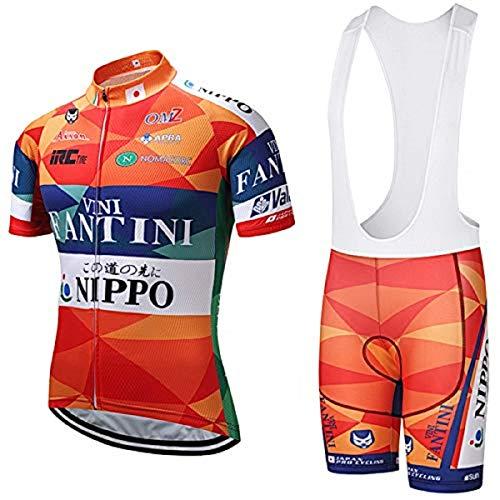SUHINFE Conjunto Ropa Equipacion, Ciclismo Maillot y Culotte Pantalones Cortos con 5D Gel Pad para Verano Deportes al Aire Libre Ciclo Bicicleta, Fan-Orange, L