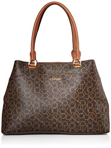 Calvin Klein Hudson Signature Organizational Tote, Brown/khaki/luggage saffiano