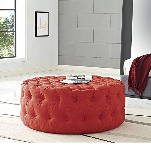 HNU Traditional Wood Frame Soft Fabric Large Round Tufted Ottoman, Modern & Contemporary Charm Furniture Stool Coffee Side Table for Living Room, Best Cocktail Ottoman - Atomic Red