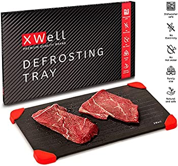 XWell Defrosting Tray for Faster Food De-Icing Eco-Friendly Food-Grade Aluminum Thawing Plate Without The Necessity of Microwave or Hot Water Large Size Big Enough to Satisfy The Whole Family