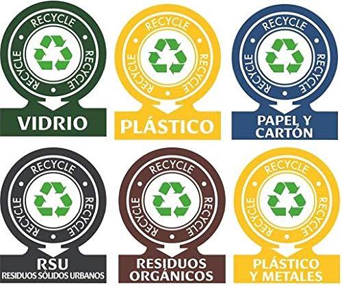 Tico etiketten voor afvalscheiding. Stickers voor afvalbeheer. Assortiment met 6 etiketten.