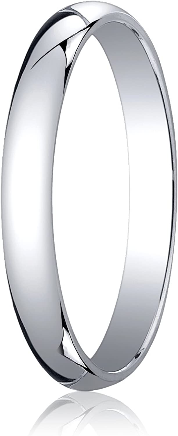 Women's 18K White Gold 3mm Traditional Dome Oval Wedding Band Ring