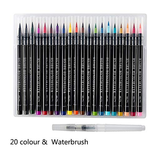 BigBigShop 20 kleuren aquarel penseel set zachte flexibele tip inkt waterverf penseel schilderij kunst markers