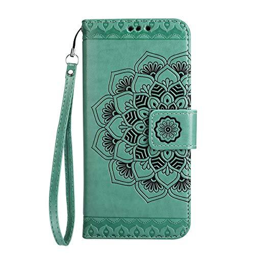 Coque Galaxy S7,Surakey Strap Rétro Henna Mandala Motif Cuir PU Portefeuille Flip Bookstyle Housse Étui Coque Wallet Coque Protection Étui pour Samsung Galaxy S7, Vert