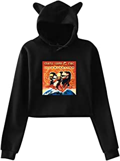SDKFHIyd The Album Cover Art of Earth Wind&Fire Hipster Cat Ear Hoodie Sweater Black