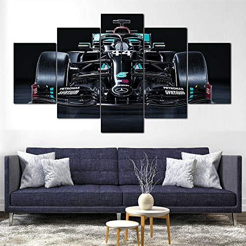 Spetich Cuadro En Lienzo, Imagen Impresión, Pintura Decoración, Cuadro Moderno En Lienzo 5 Piezas XXL,Murales Pared Hogar Decor-Mercedes-Amg Fórmula 1 W11 Coche F1