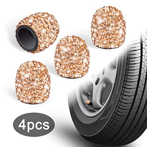 WINKA Valve Caps for Tires, Rhinestone Universal Car Tire Valve Caps, Attractive Dustproof Bling Car Accessories Orange