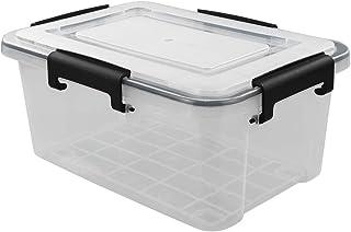 Annkky Juego de 2 Caja de Plástico Transparente con Tapa, Caja de Almacenamiento Cajas de Plastico Apilables Plástico Contenedor