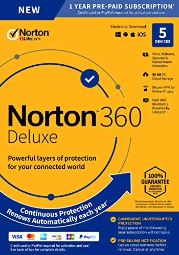 Norton 360 Deluxe – Antivirus Software for 5 Devices with Auto Renewal - Includes VPN, PC Cloud Backup & Dark Web Monitoring powered by LifeLock - 2020 Ready [Key Card]