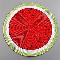 PP編まれたラウンドプレースマットフルーツダイニングテーブルプレートマットボウルスイカのレモンドリンクコースターズキッチンアクセサリー (サイズ : B)