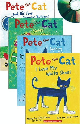 Pete the Cat By Eric Litwin Audio Set Includes 4 Paperbacks and 4 Cds- Pete the Cat I Love My White Shoes Book & Cd, Pete the Cat Saves Christmas Book & Cd, Pete the Cat & His Four Groovy Buttons Book & Cd, Pete the Cat Rocking in My School Shoes Book & Cd