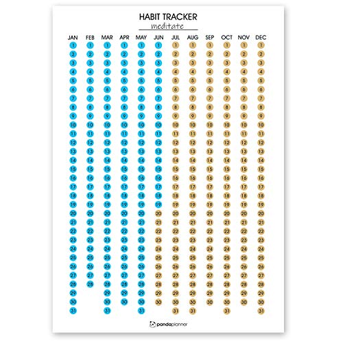 Habit Tracker Calendar by Panda Planner - Full Year Scratch Off Habit Poster - Clear Visual Self Care Habit Progress - Accountability Journal for Hitting Your Goals - Fitness Journal Large Calendar