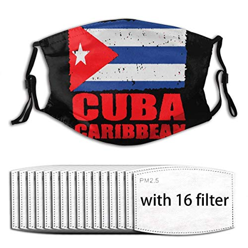 Flag of Cuban Cuba Flag Face Protection Decorations mask with Replaceable Filter 6/10/16 Pcs-1 Mask With16 Filters-One Size
